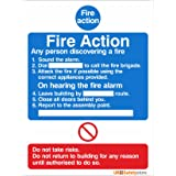 Pack of 2 Fire Action Signs 150mm x 200mm - Self Adhesive