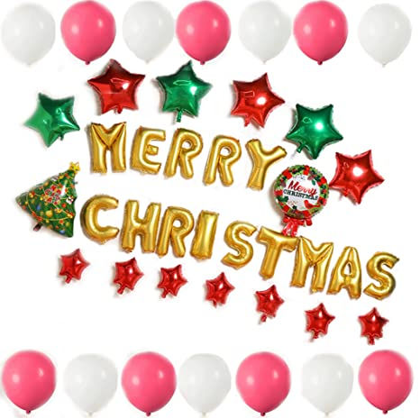 horbous christmas balloon decoration set merry christmas banner balloon 100pcs latex balloons christmas tree father christmas - Christmas Balloon Decor