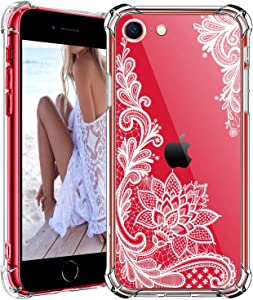 HBorna Clear Case for iPhone Se 2020 with Lace Pattern, Shockproof Protective Cover for iPhone SE 2nd Generation, iPhone 8, iPhone 7