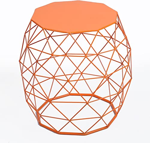 Adeco Home Garden Accents Wire Round Iron Metal Stool Side Table Plant Stand Chair