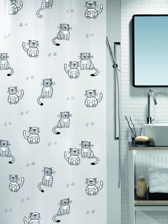 180 x 200 cm Spirella Gary PEVA Opaque Plastic Shower Curtain Grey//White//Black