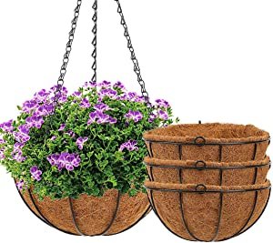 Hanging Baskets for Plants - Angchun 4 Pack Hanging Planters with Coco Coir Liner 12 Inch Hanging Pot Garden Decor Wire Plant Hangers with Holder for Porch Decoration Outdoor Watering Hanging Plants