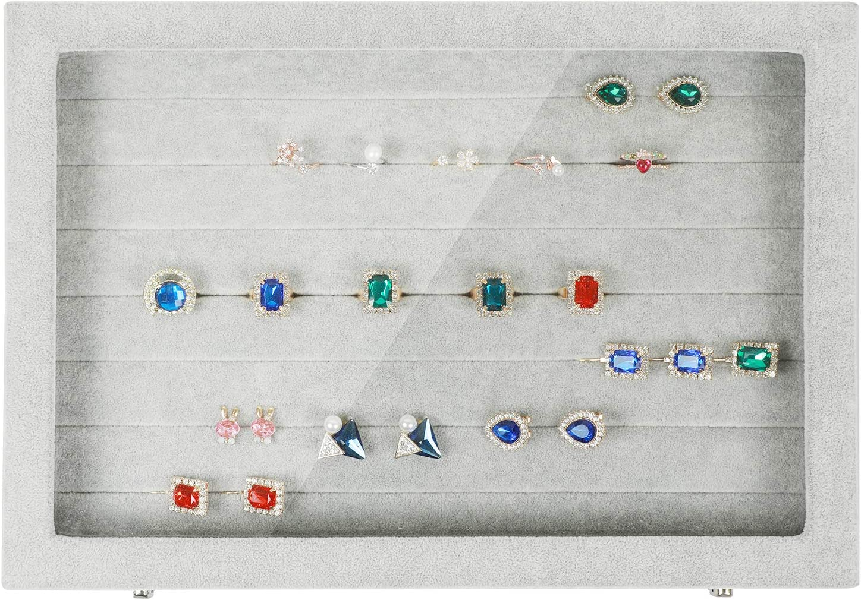 STYLIFING Clear Lid Velvet 24 Grid Jewelry Tray Transparent Jewelry Display Showcase Lockable Felt Jewelry Storage Organizer Charm Box Holder Gifts for Girls Women