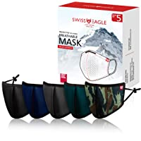 Swiss Eagle Face Mask with HeiQ Viroblock Smart Protection - Reusable Mesh Face Cover