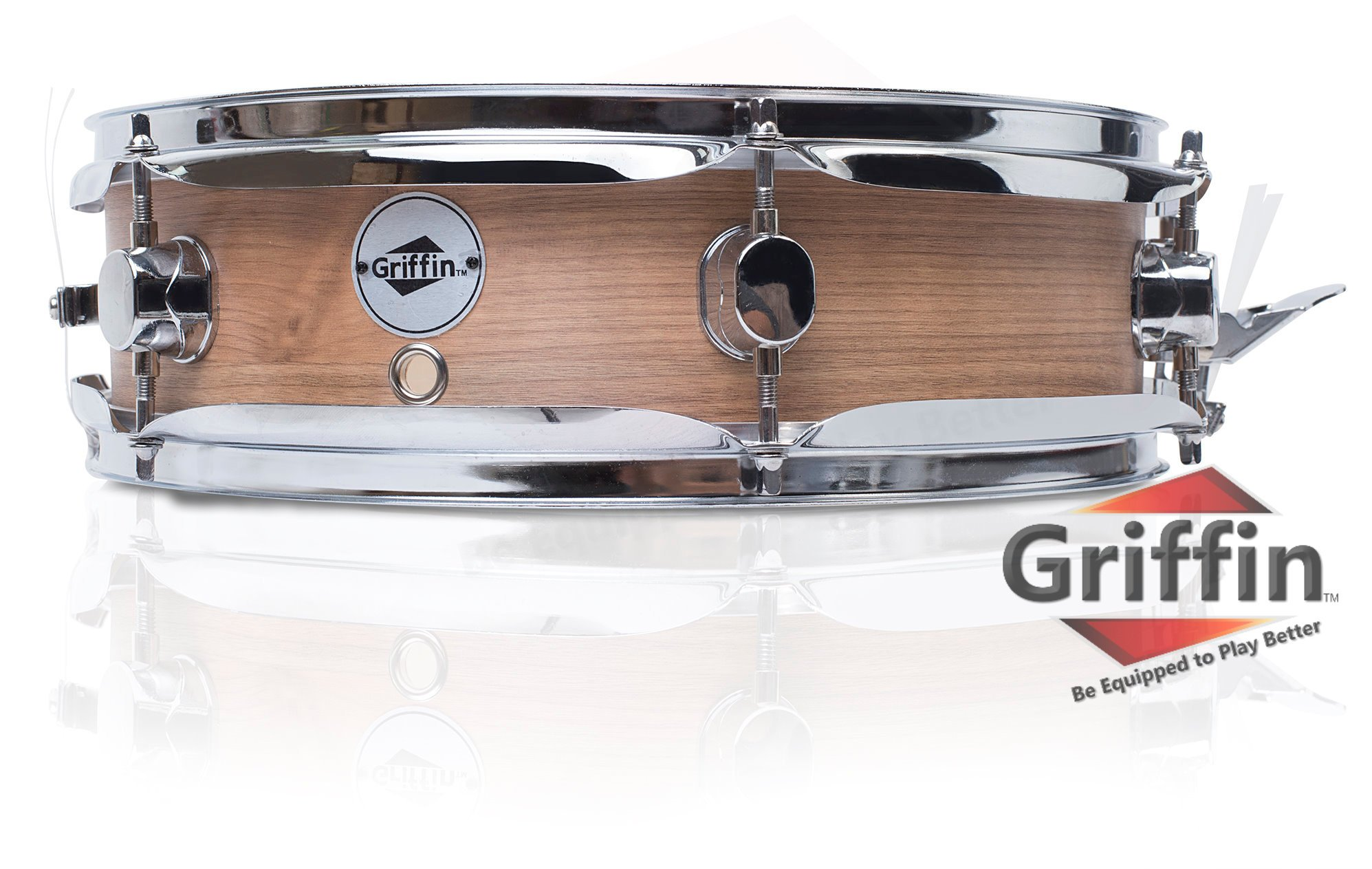 Piccolo Snare Drum 13'' x 3.5'' by Griffin | 100% Poplar Shell with Oak Wood Finish and Coated Drum Head | Professional Drummers Deluxe Percussion Instrument with Bright Tone and Brilliant Attack