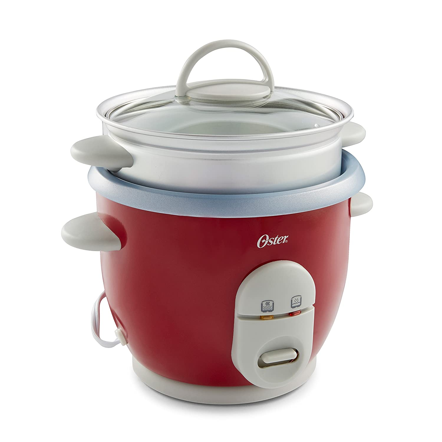 Oster 6-Cup Rice Cooker with Steamer, Red 004722-000-000