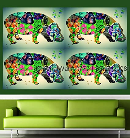 ImperialWallArt777 Vintage Animal Photo Collage Hippopotamus Wall Decal Poster Peel Stick