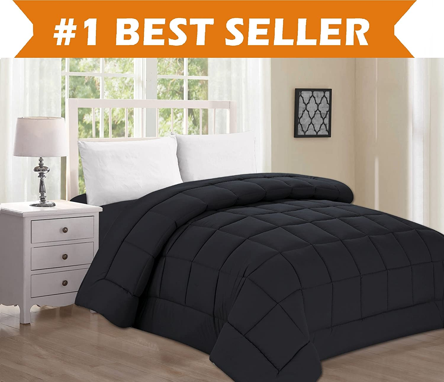 Best Selling Luxury Comforter on Amazon! Elegant Comfort Ultra Plush Down Alternative Double-Filled Comforter%100 Hypoallergenic, Full/Queen, Black COMIN18JU084739