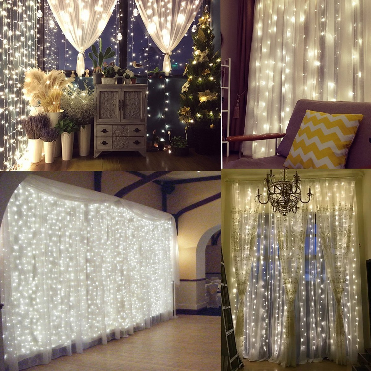 Romote Window Curtain String Lights Starry Fairy Icicle Lights, 9.8ft x 9.8ft, 300 LED, 8 Modes, Indoor Lights for Home Wedding Party Garden Wall Window Decorations, Warm White