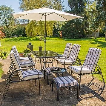 Hadleigh reclinable 6 plazas juego de muebles de jardín y ...
