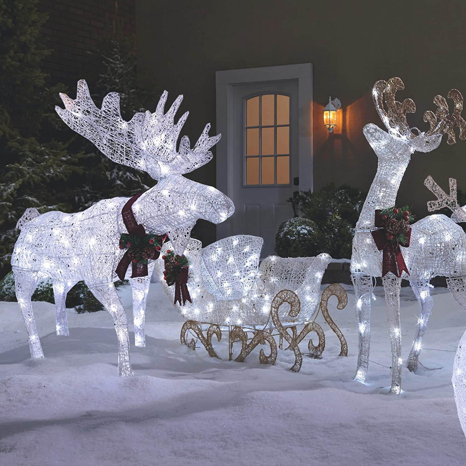 NOMA Pre-Lit LED Light Up Moose & Reindeer and Sleigh Set | Christmas Holiday Lawn Decor