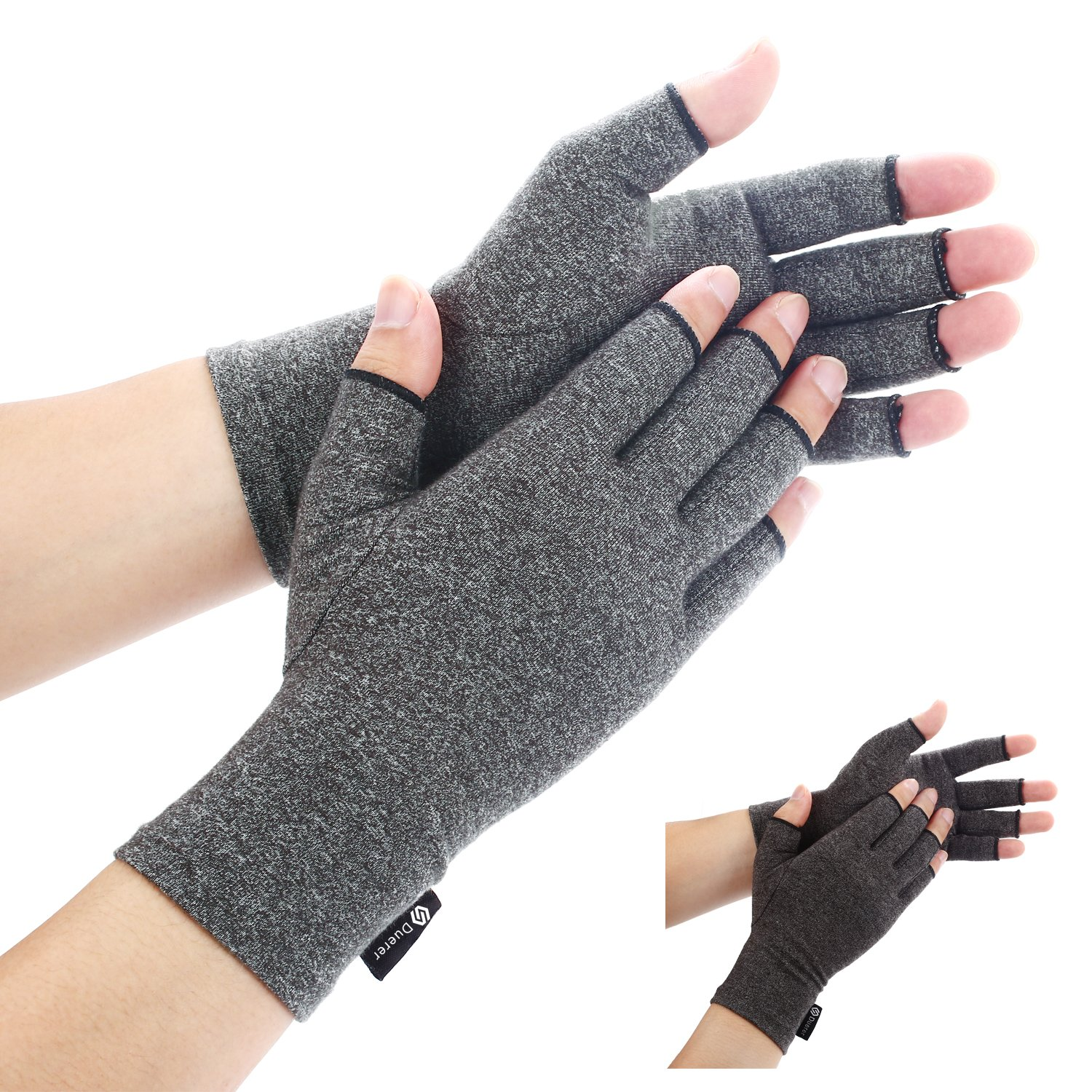 Duerer Arthritis Gloves Women Men for RSI, Carpal Tunnel, Rheumatiod, Tendonitis, Fingerless Hand Thumb Compression Gloves Small Medium Large XL for Pain Relief (XL, Black)