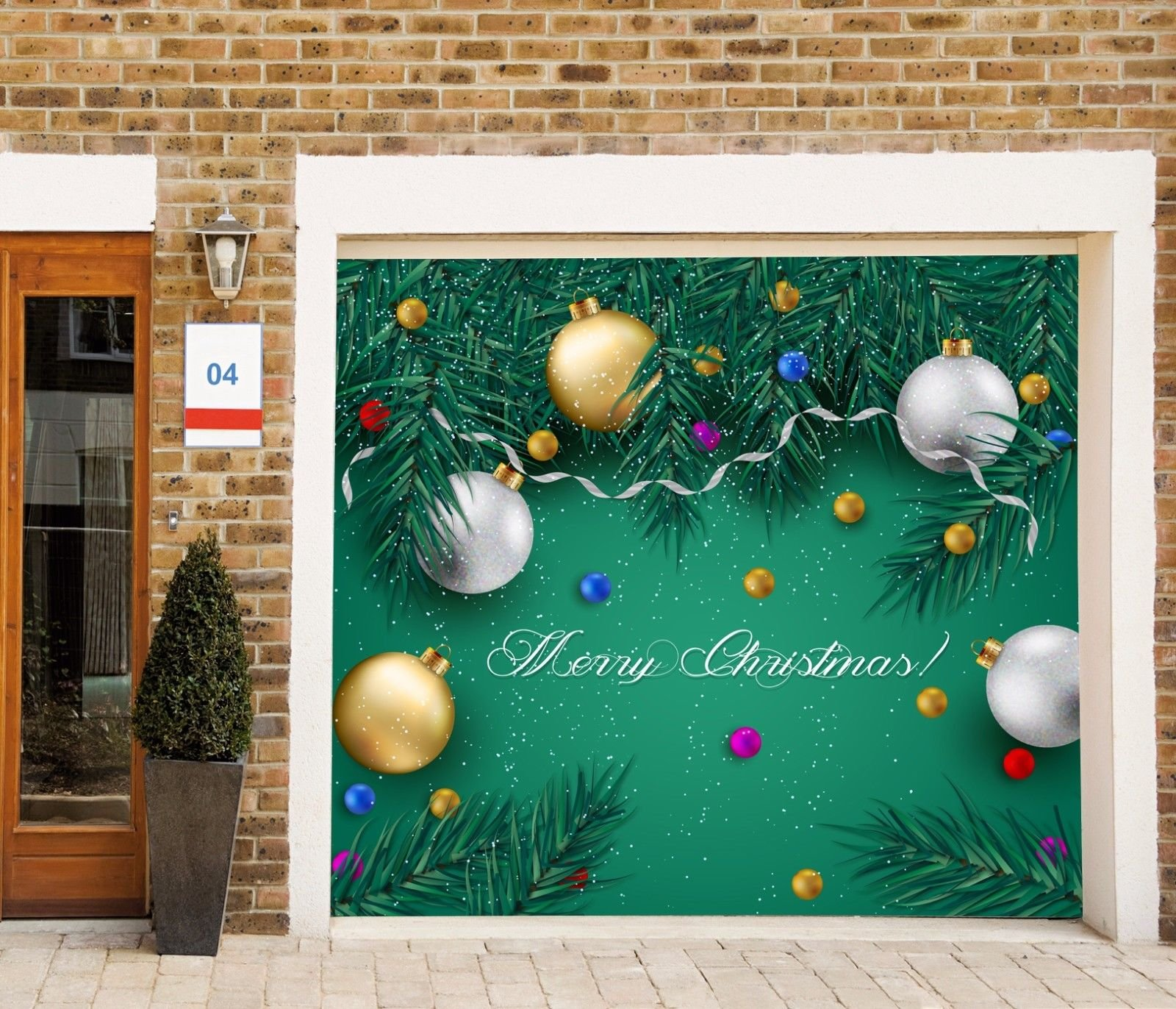 Holiday Decor Garage Door Banner Christmas Single Garage Door Covers Billboard Decorations of House Garage Merry Christmas Full Color Door Decor 3D Effect Print Mural Banner Size 83 x 89 inches DAV60