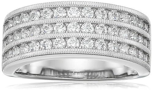 Platinum-Plated Sterling Silver Swarovski Zirconia Band Ring, Size 6