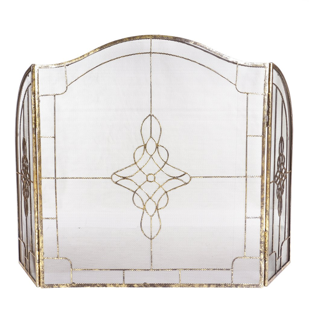 Deluxe Folding Art Deco Fireplace Screen with Ornate Mesh Spark Protector Dibor