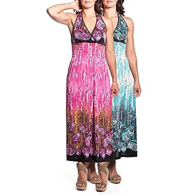 e42038f474d 2 Women s Tie-Neck Halter Maxi Dress Full-Length Sundress Tropical Leaf  Print