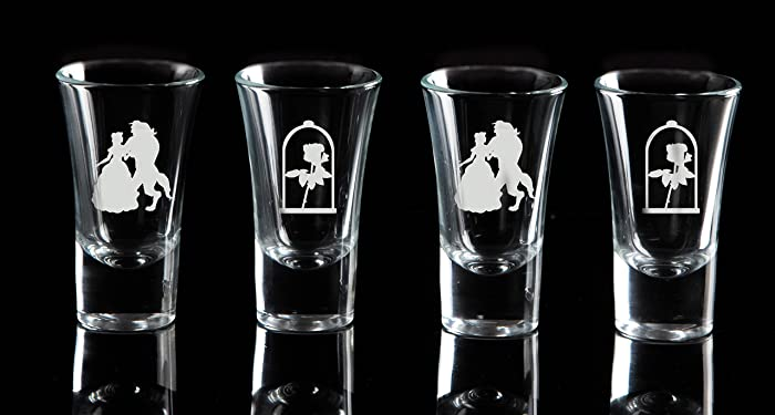 Beauty And The Beast Shot Glasses Set Of 4 Matching Wine Glasses
