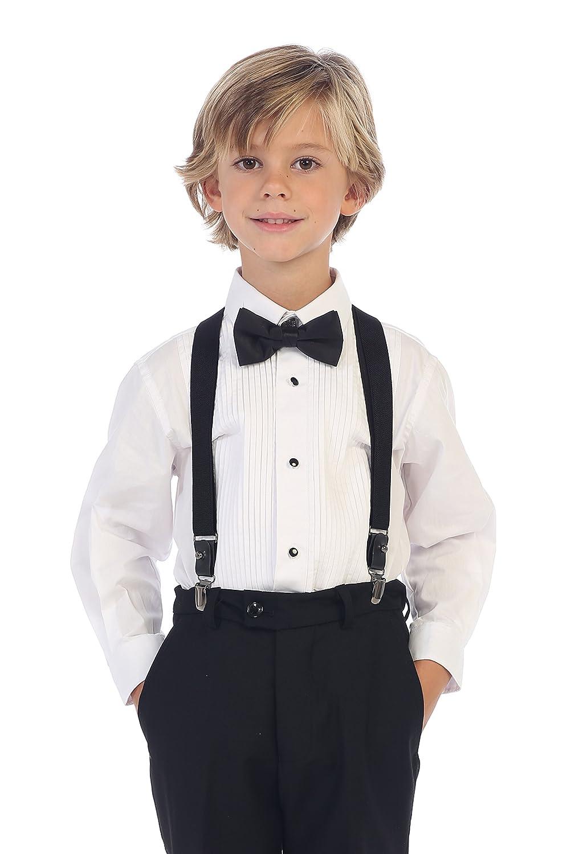 Gioberti Boy's Long Sleeve Tuxedo Dress Shirt with Bow Tie China DS-85T