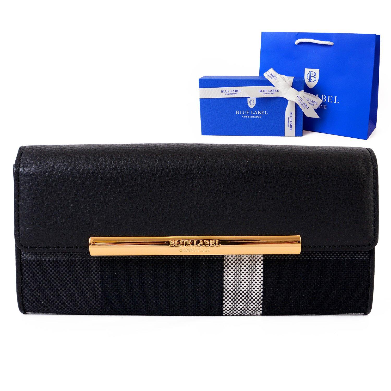 [名入れ可] ギフトラッピング済 (ブルーレーベル クレストブリッジ) BLUE LABEL CRESTBRIDGE チェック レザー ロング ウォレット かぶせ 二つ折り 長財布 本革 ショップバッグ付 B076FCBTZF  ブラック 名入れあり