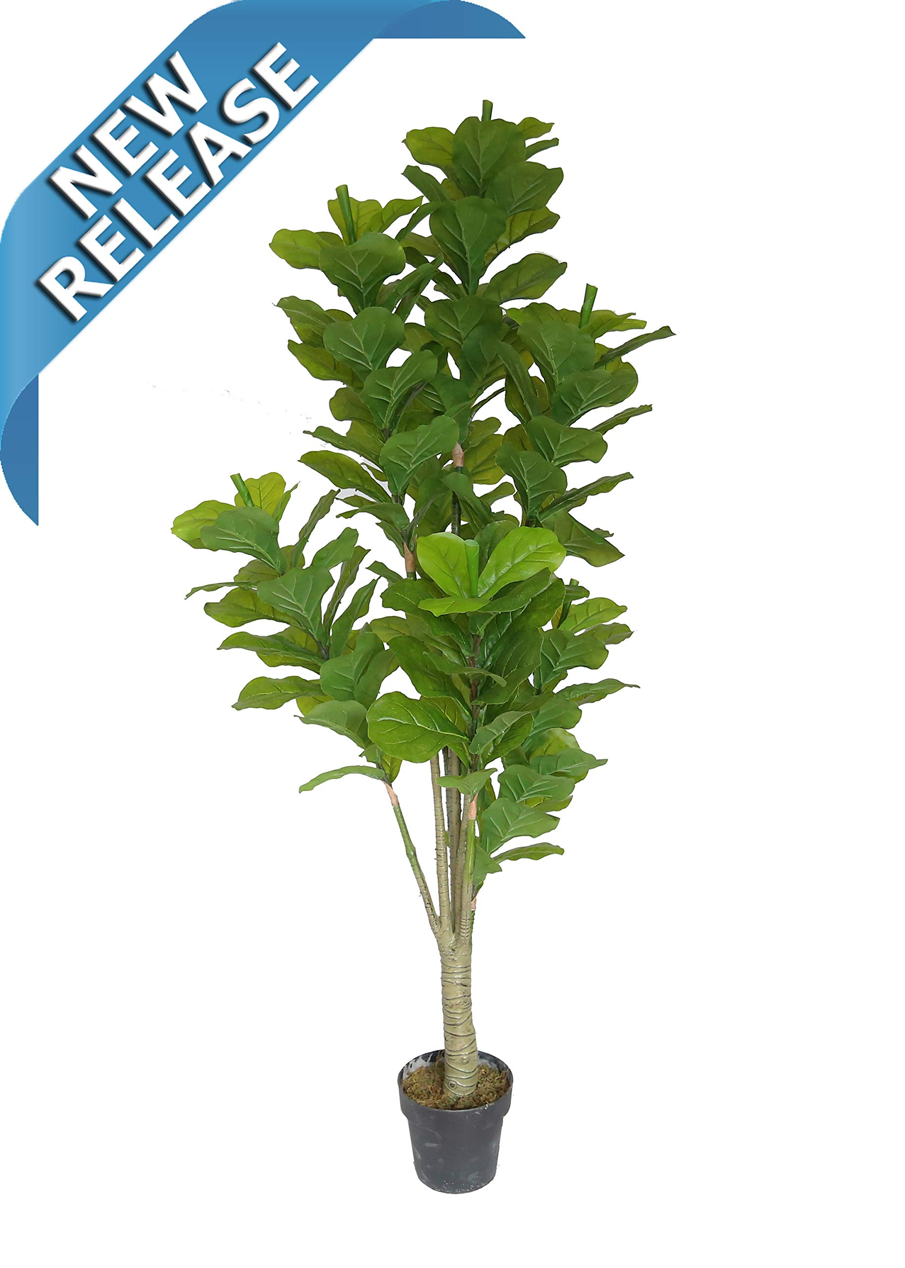 AMERIQUE Gorgeous & Dense 6' Fiddle Leaf Fig Tree Artificial Silk Plant with UV Protection, with Nursery Plastic Pot, Feel Real Technology, Super Quality, 6 Feet, Green by AMERIQUE