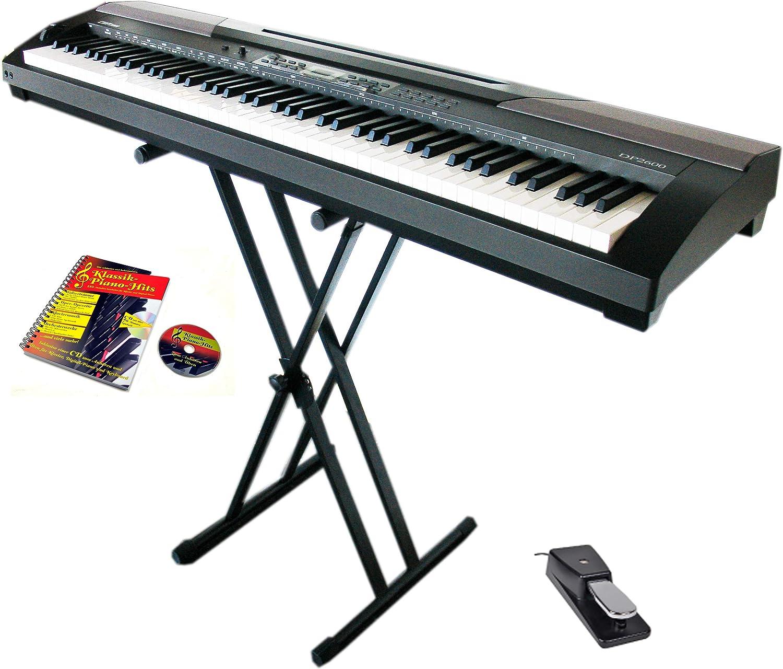 Clifton Piano con pedal de sostenido, fuente de alimentación y soporte para teclado doble, libro de partituras y CD de karaoke.