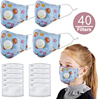Asdomo 5 Pack Kids Pollution Mask Military Grade Anti Dust and Smoke Mask with 50 Filters PM2.5 Dustproof Half Face Mask...