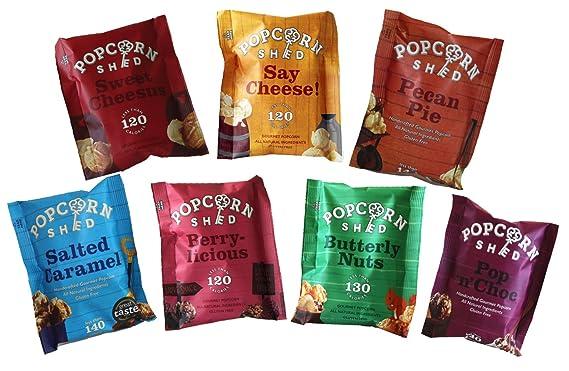 The Popcorn Sheds Paquete de selección de degustación de palomitas gourmet (paquete de 7)