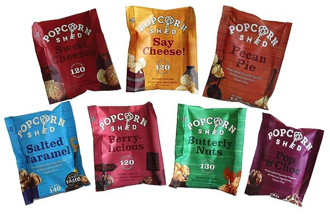 The Popcorn Sheds Paquete de selección de degustación de palomitas gourmet (paquete de 7): el regalo perfecto para palomitas de maíz