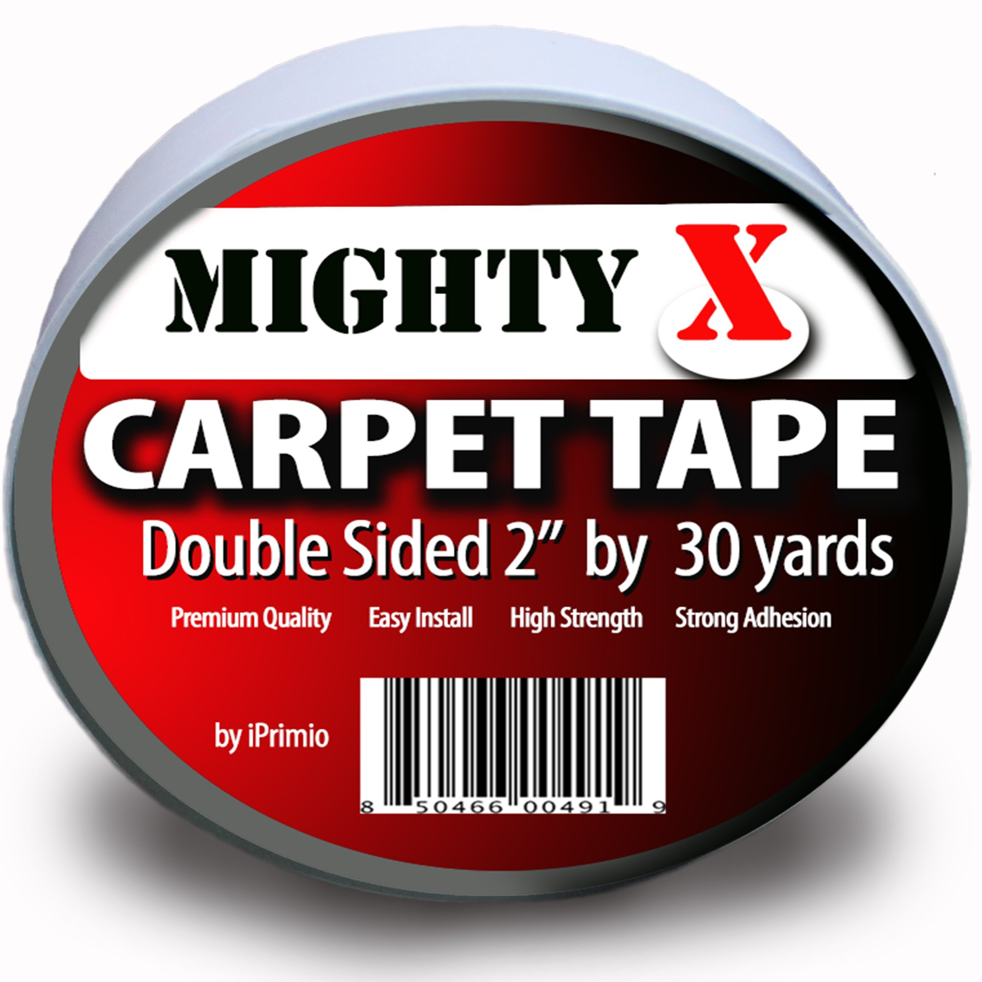 Mighty''X'' Indoor Rug/Carpet Tape Double Sided 30 Yards x 2 Inches - Extra Thick - Heavy Duty by iPrimio