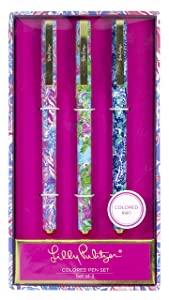 Lilly Pulitzer Women's Colored Pen Set of 3, Includes Pink, Blue, Green Ink, Viva La Lilly (assorted)