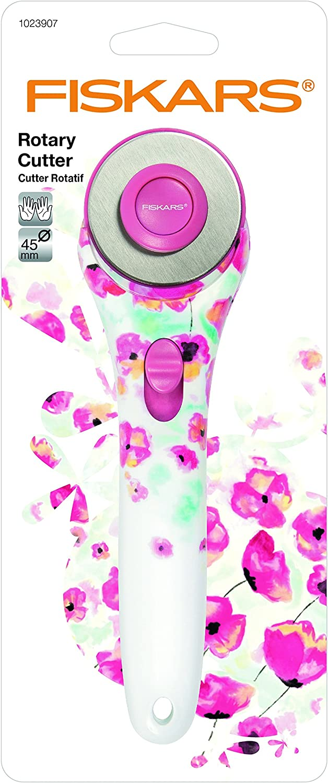 Fiskars 45mm Pink Floral Designer Stick Rotary Cutter F1023907
