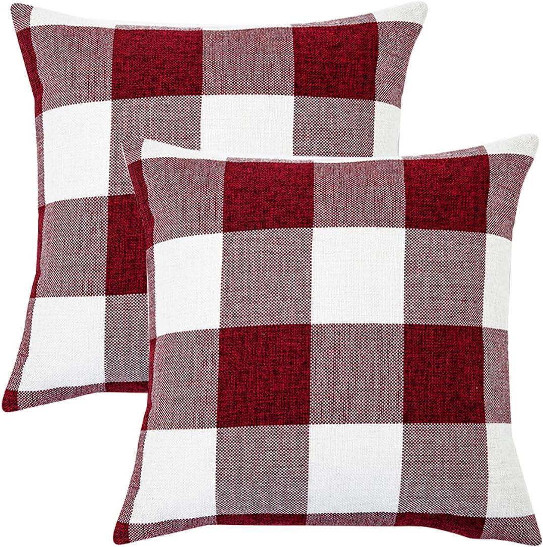 Black White Buffalo Plaids Decorative Throw Pillow Covers Farmhouse Retro Checkers Cotton Linen Square Cushion Cases Home Decor Outdoor Classic Check for Sofa Couch Patio 18x18 Set of 2