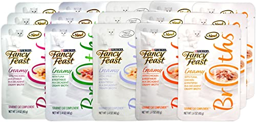 Fancy Feast Gourmet Creamy Broths Variety Pack for Cats – 5 Creamy Broth Flavors – 1.4 Oz Each 15 Total Pouches