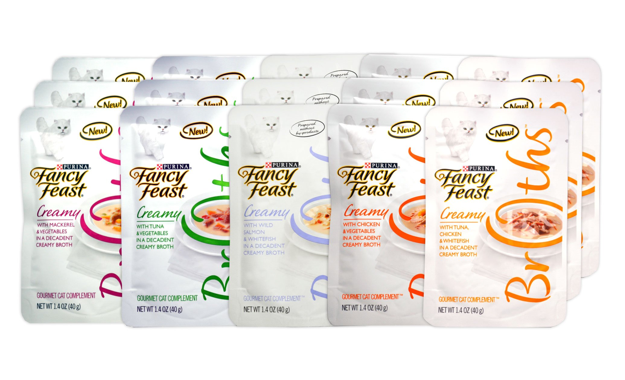 Fancy Feast Gourmet Creamy Broths Variety Pack for Cats - 5 Creamy Broth Flavors - 1.4 Oz Each (15 Total Pouches)