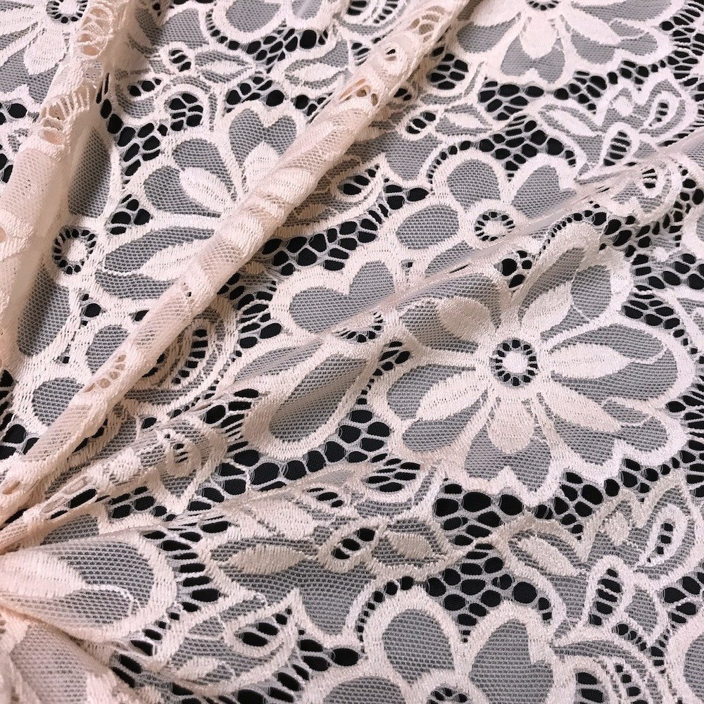 Stretch Lace Fabric Embroidered Poly Spandex French Floral Florence 58 Wide by The Yard Burgundy