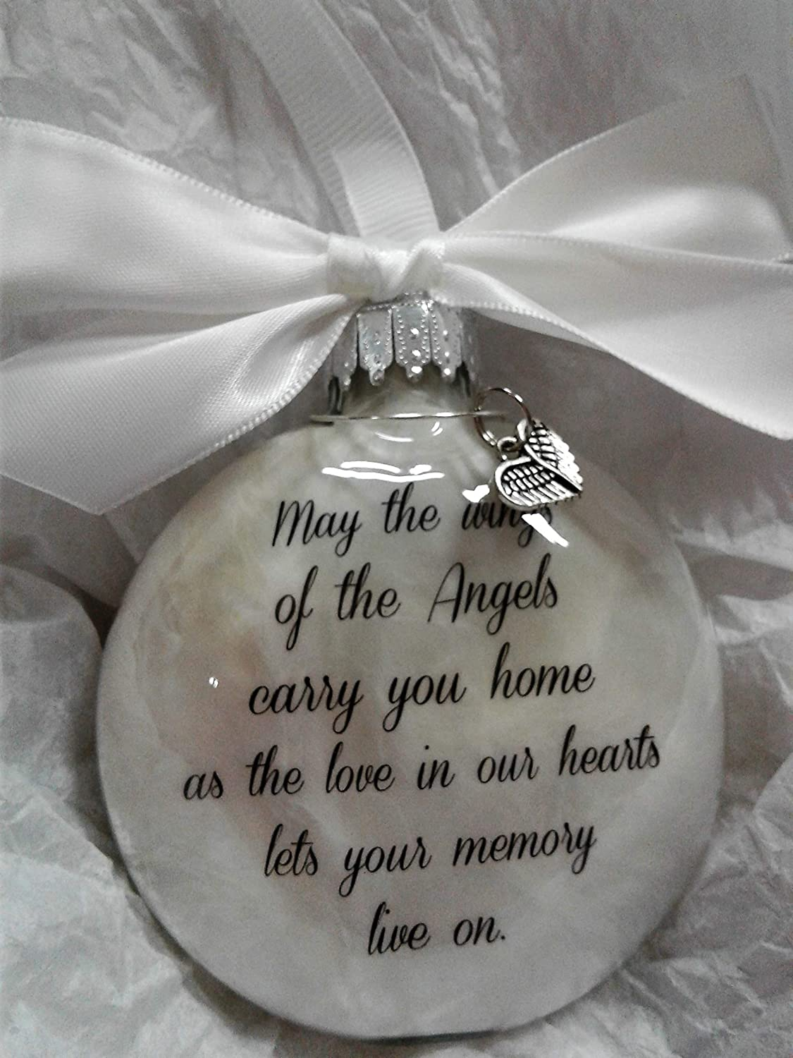 In Memory of Loved One Sympathy Gift May The Wings of Angels with Heart Wing Charm