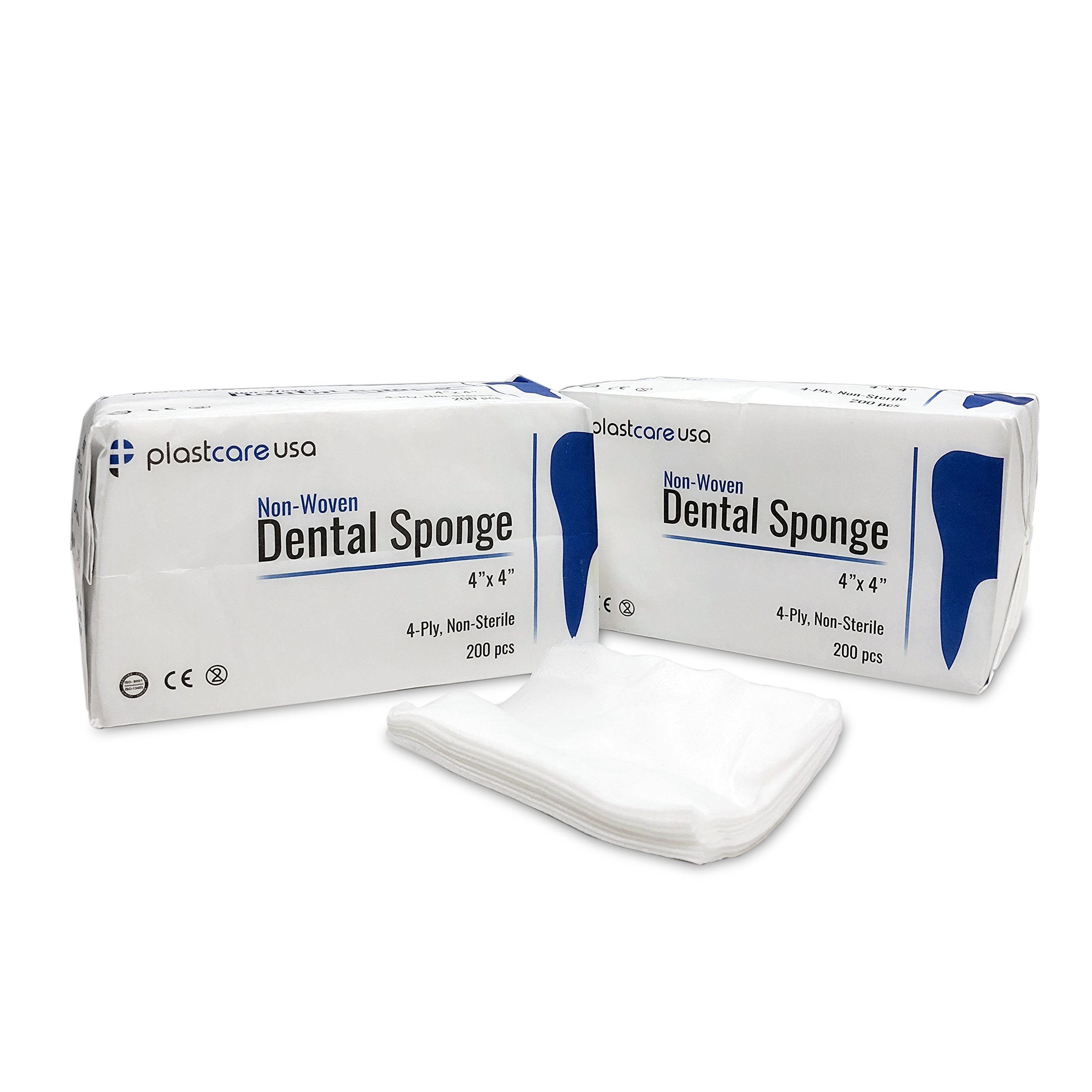 2000 4x4 Non Woven Sponges 4-Ply, Non-Sterile Dental Gauze (2000 Pack) by PlastCare USA (Image #1)