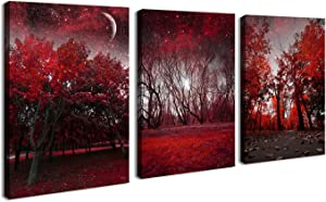 Cao Gen Decor Art-AH40346 Canvas Prints 3 Panels Framed Wall Art Red Trees Paintings Printed Pictures Stretched for Home Decoration