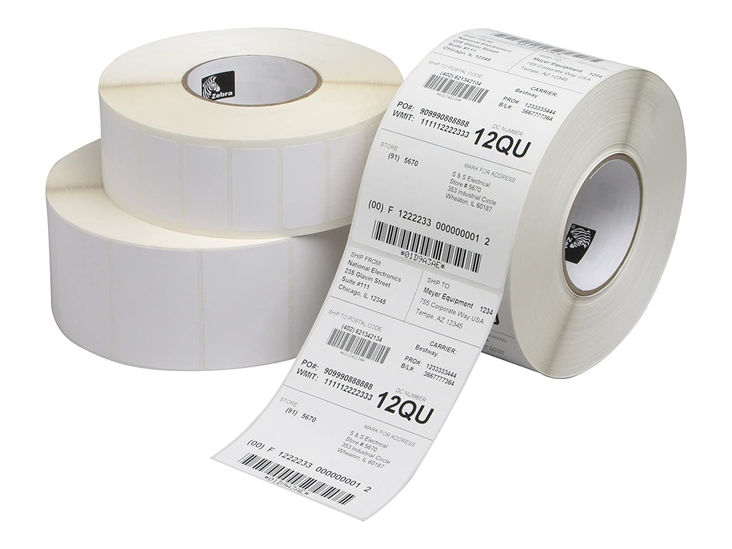 Zebra 2700 Labels, 25 mm, Box of 800 Labels Perfo Box Of 6 3005869