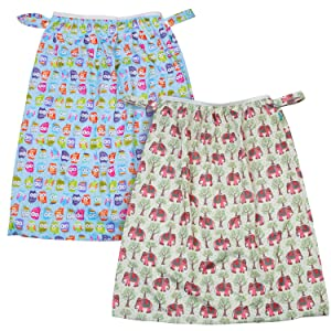Teamoy (2 Pack) Reusable Pail Liner for Cloth Diaper/Dirty Diapers Wet Bag, Elephants+Cute Owls
