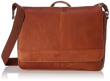 Kenneth Cole Reaction Colombian Leather Slim Single Compartment Flapover  Business Messenger Bag, Cognac 6cc0d462cb