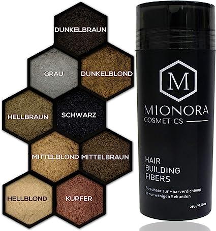 Mionora - Spray de fibra capilar para densificar el cabello, calidad prémium, cabello completo en segundos, 26 g, 9 colores: Amazon.es: Belleza