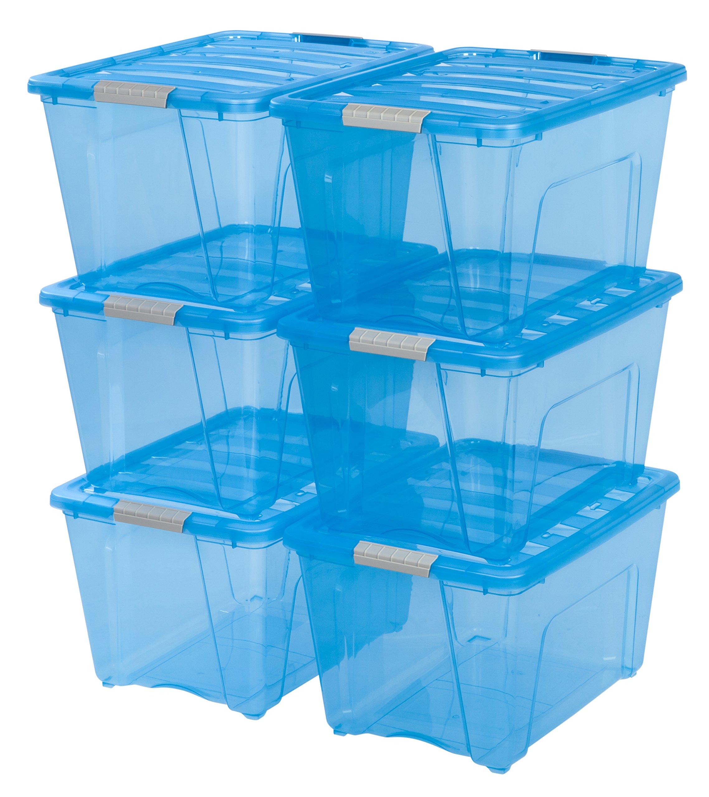 IRIS 53 Quart Stack & Pull Box, 6 Pack, Blue by IRIS USA, Inc.
