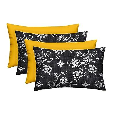 "Set of 4 - Indoor/Outdoor Rectangle Lumbar Decorative 20"" x 12"" Throw/Toss Pillows - Lenore Matte Black Abstract Floral & Solid Yellow : Garden & Outdoor"