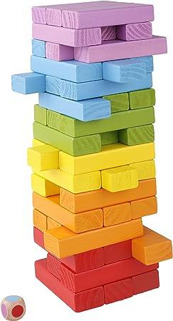 Katsu Retail Group Juegos de Mesa de Madera para niños - Bloques de Colores apilables y giratorios - Juego de 48 Piezas Torre y Dados: Amazon.es: Juguetes y juegos