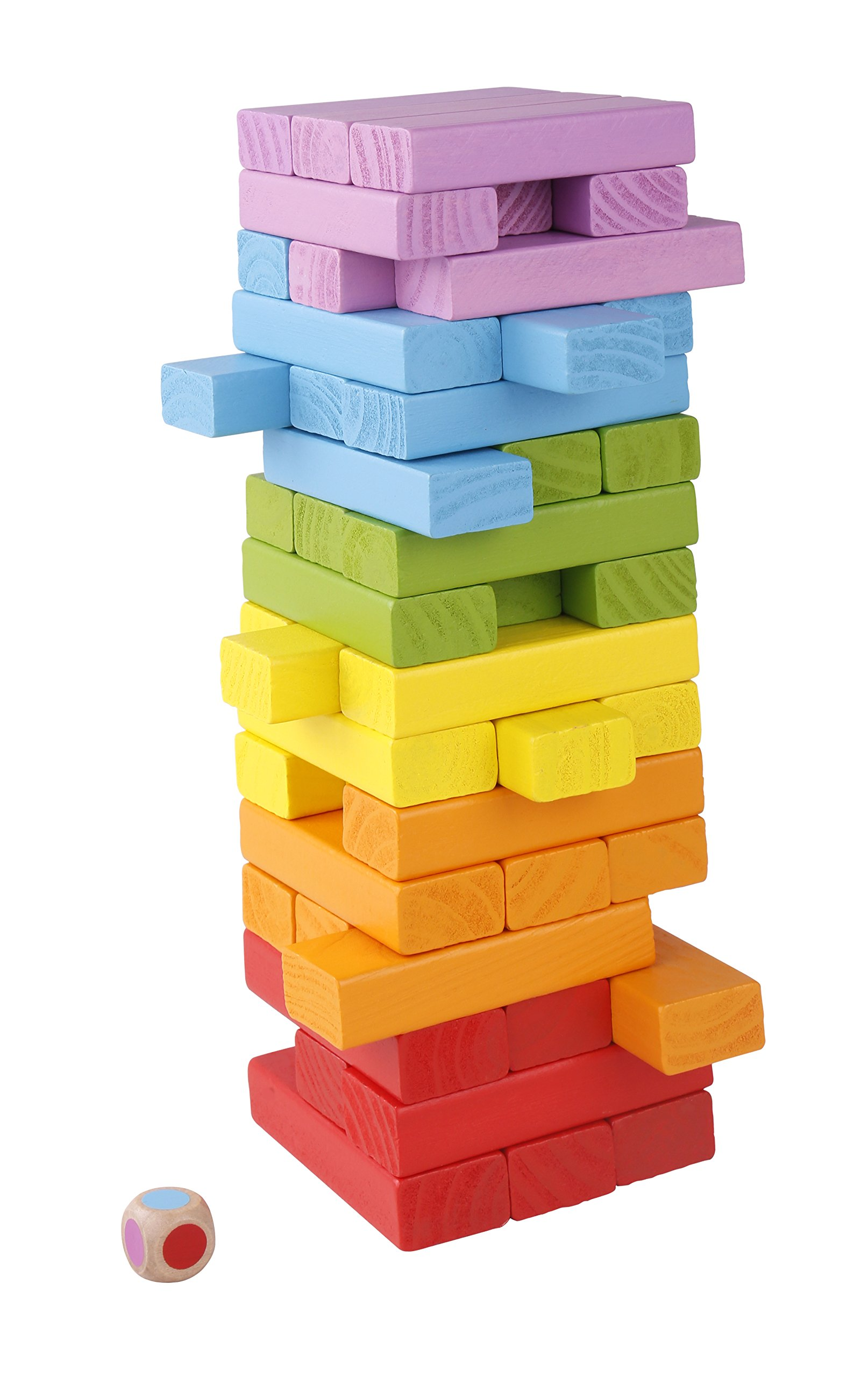 Pidoko Kids Wooden Board Games - Stacking and Tumbling Colored Blocks - 48 Pieces Premium Quality Set Tower and Dice by Pidoko Kids