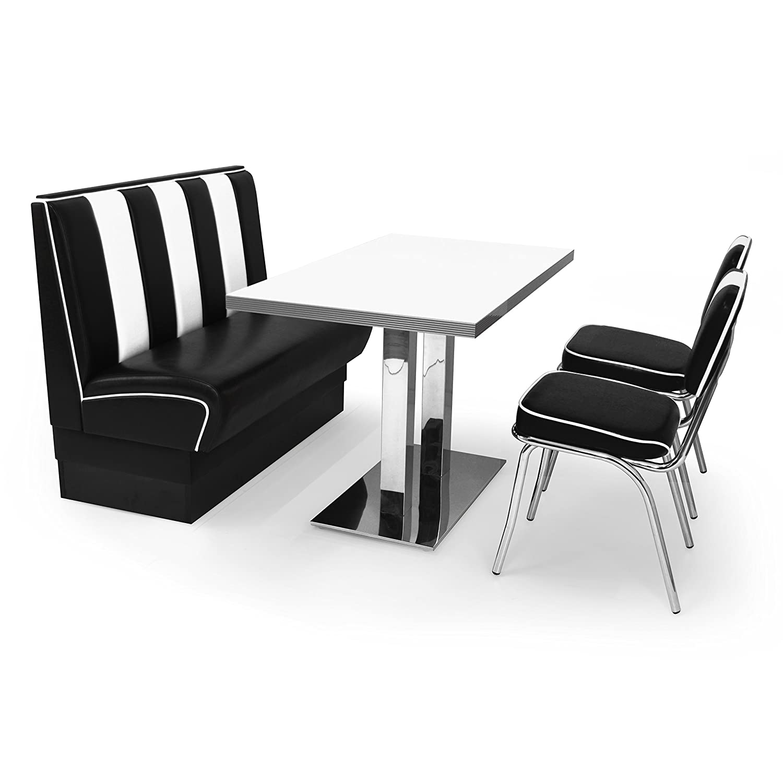 American Diner Sitzgruppe 2x Retro Stuhl Sitzbank Viber2 120cm Diner Tisch