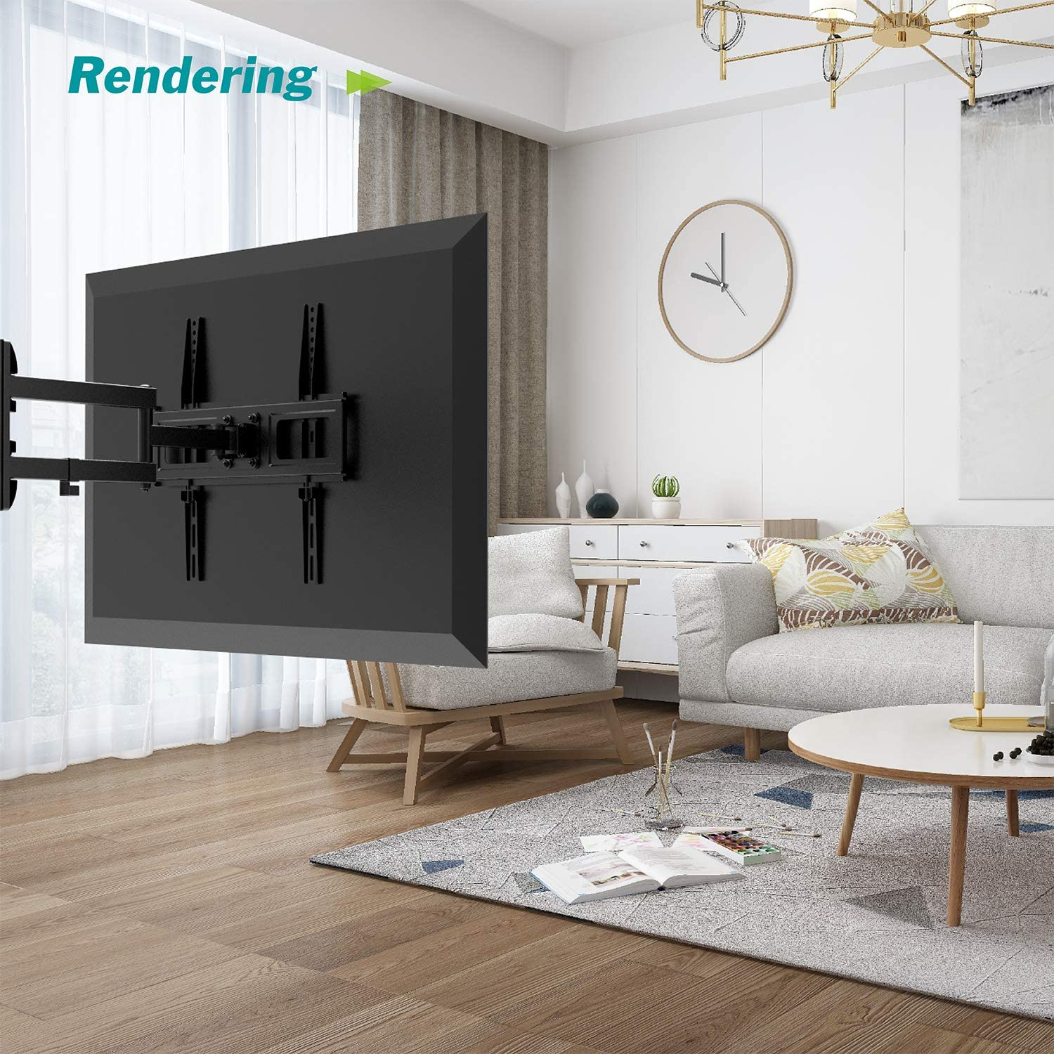 Swivel/&Extend TV Mount LCD Charmount TV Wall Mount with Swivel Articulating Arm Full Motion TV Mounting Bracket for Most 26-55 Inch LED OLED Plasma Flat Screen TV up to 88 lbs VESA 400x400mm
