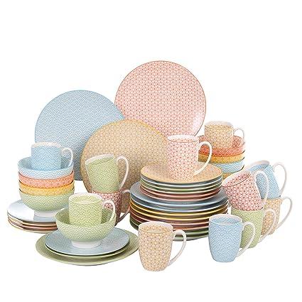 vancasso Natsuki, Combinación Vajilla de Porcelana 48 Piezas Juego de Vajilla, Cada Una con 8 Tazas de Café, Tazones de Cereal, Platos de Postre y ...