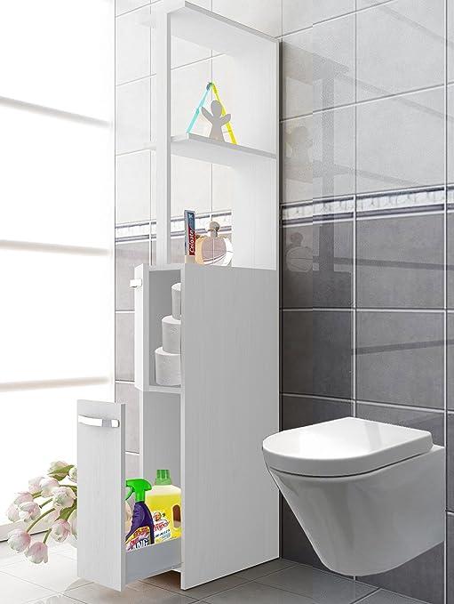 VCM Badschrank Schrank Raumteiler Hochschrank Regal Badregal Badmöbel  170x25x50 cm Tilosa Weiß